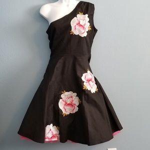 50's/60's Hawaiian Floral one shoulder Dress